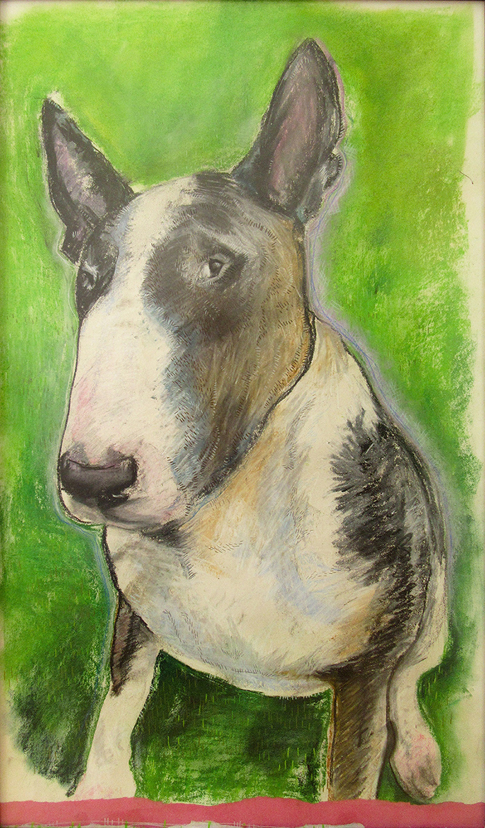 mixed media portrait of an English Bull Terrier