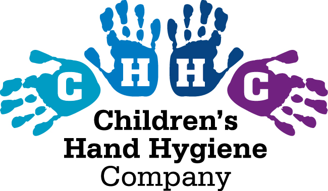 logo with hand prints in blue tones for children's hand hygiene company, Scotland, washrooms