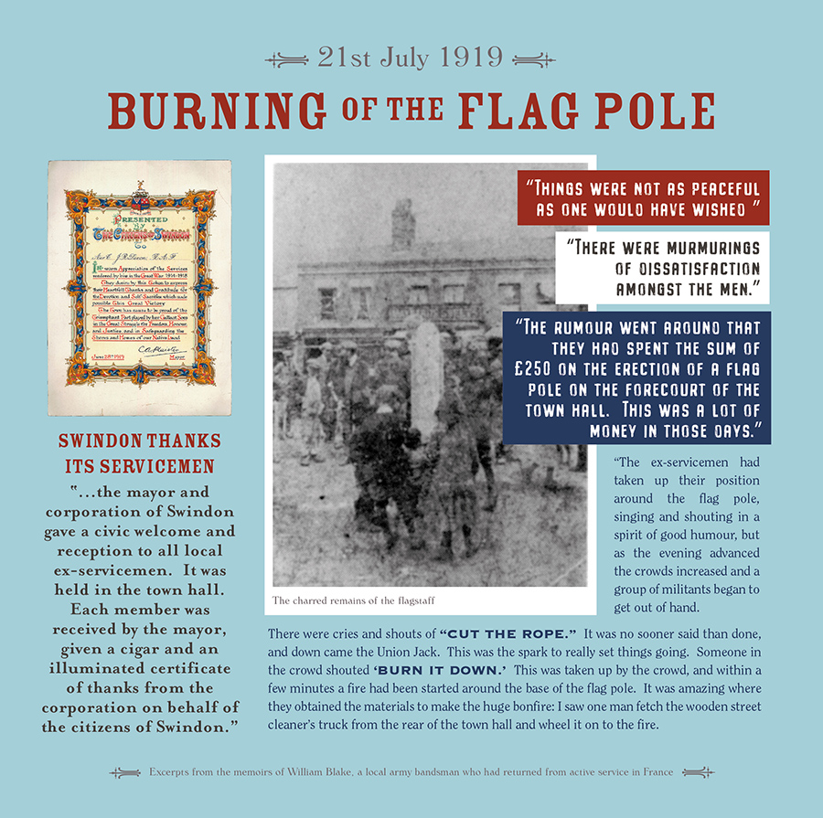 exhibition panel with old photo of charred flag pole