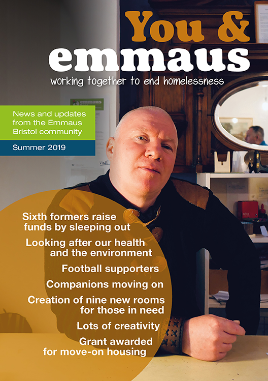 cover of Emmaus Bristol newsletter 2019 featuring photography by Colin Moody