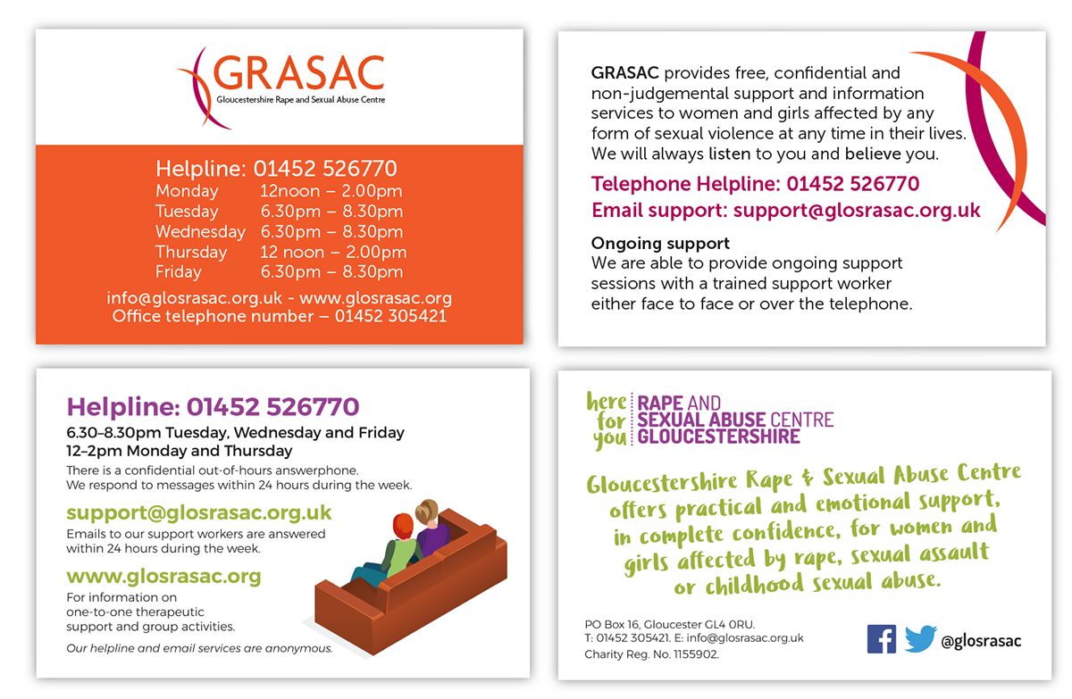 helpline cards for survivors of rape and sexual abuse