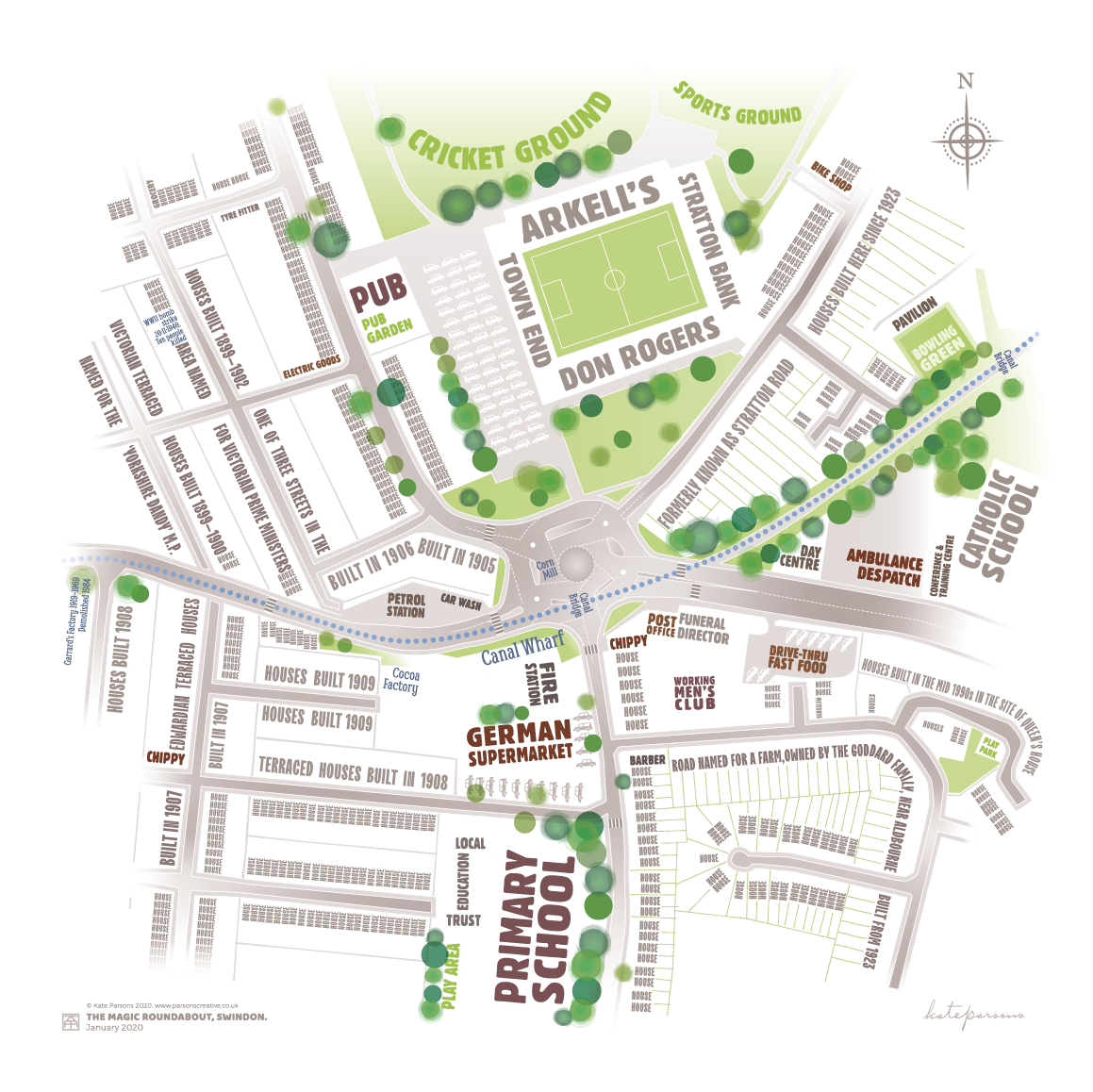 typhgraphic map of swindon magic roundabout with heritage elements