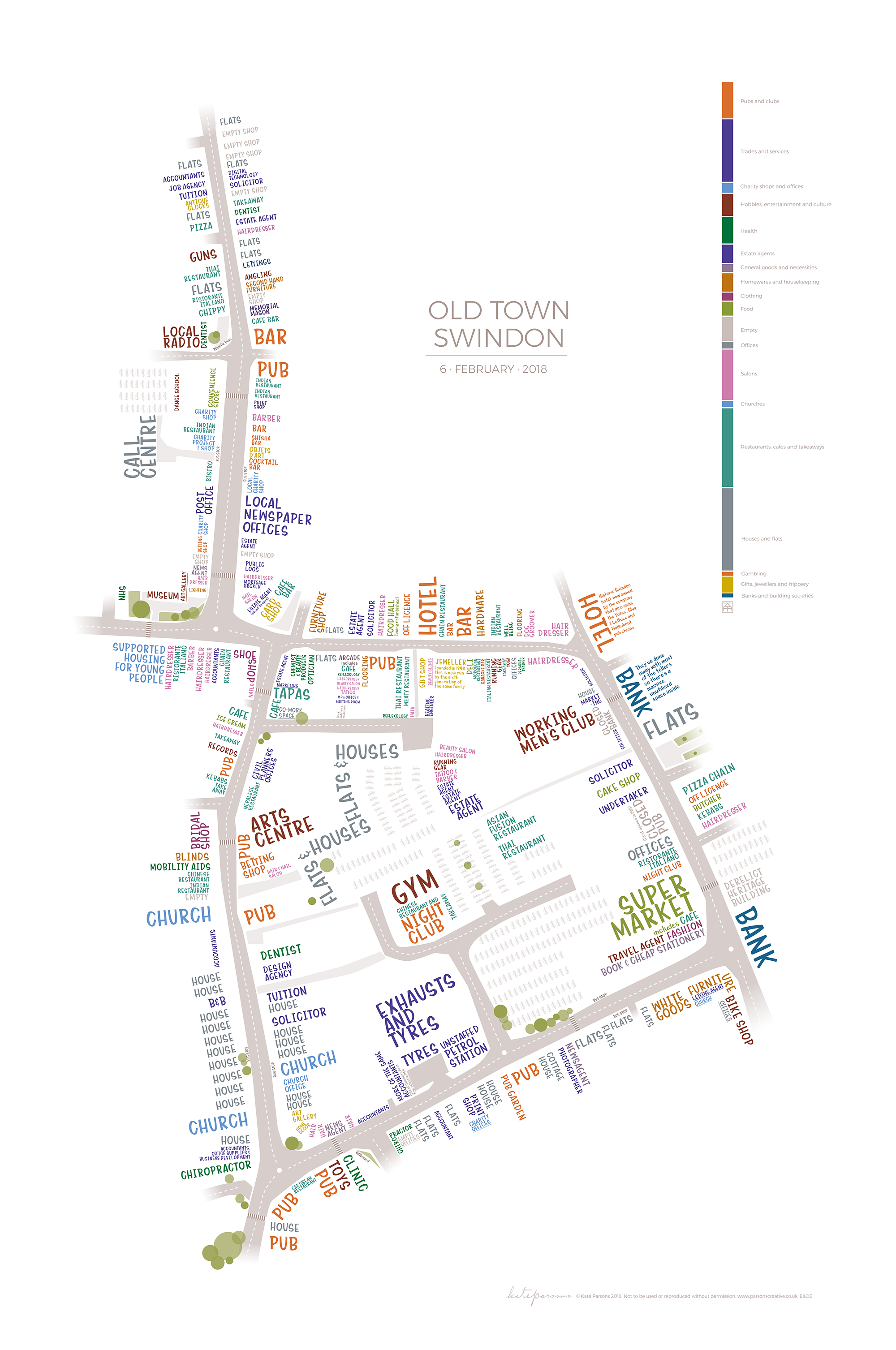 Old Town Swindon, typographic map, Wiltshire
