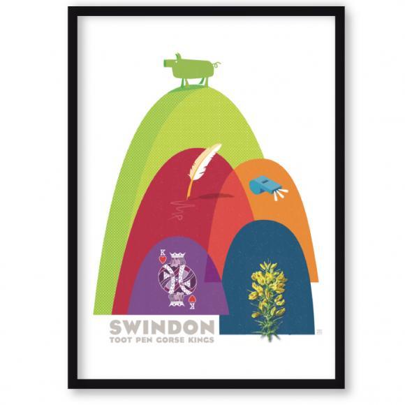 art print of Swindon – hills