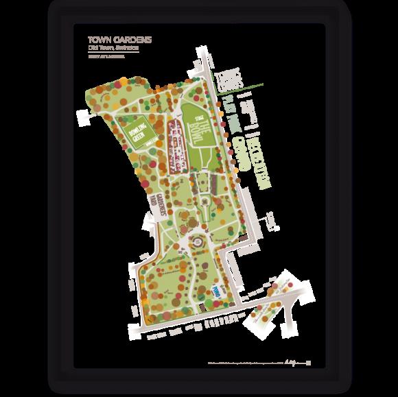 Town Gardens Autumn typographic art map