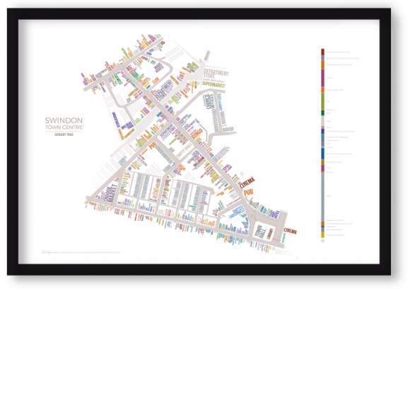 swindon town centre 1968 typographic art map